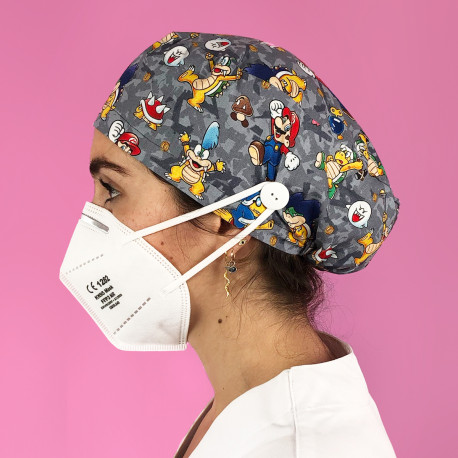 Long Hair Surgical Cap with buttons -...