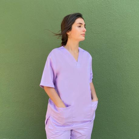 V-Neck classic uniform top in Lavender