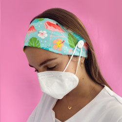 Flamingo Hairband with buttons