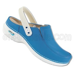 Zueco Piel Lavable Wash'Go - Azul