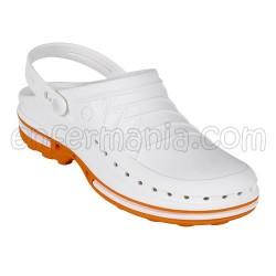 Zuecos Wock Clog - blanco/naranja