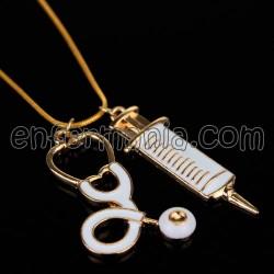 Penjoll amb cadena (or/blanc) - Xeringa + Fonendo