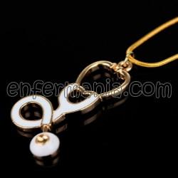 Colgantes con cadena (gold/blanco) - Jeringuilla + Fonendo