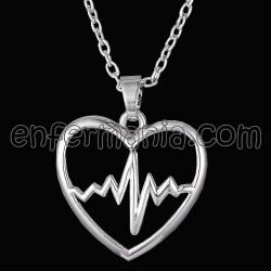 Anhänger mit kette, Herz-EKG