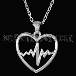 Pendant with chain Heart EKG