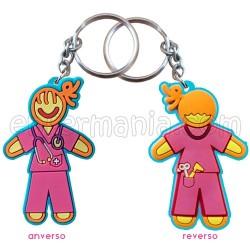 Porte-clés double face - Infirmière - Rose