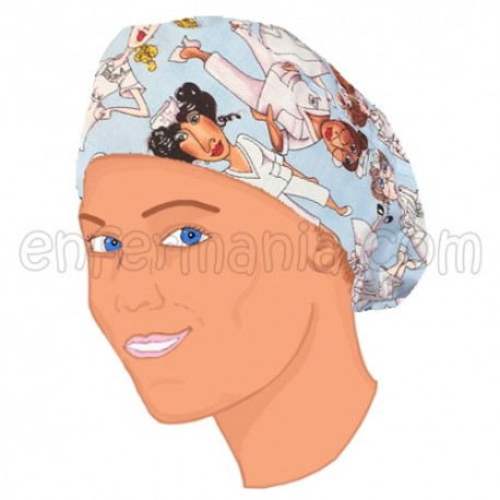 Gorro bouffant pelo largo - Blue Nurses