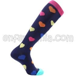 Socks compression - HEARTS - BLACK
