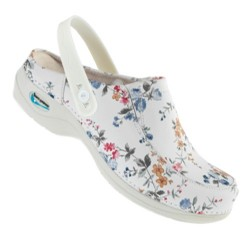 Leather Clog Washable Wash'Go - Flowers