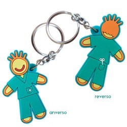 Llavero doble cara - Enfermero - verde