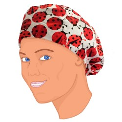 Long hair surgical cap - LadyBug