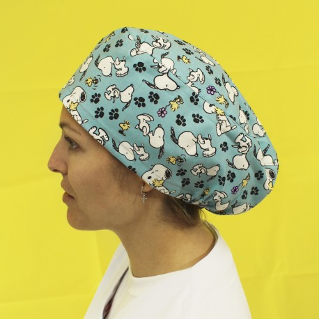 Long Hair Surgical Cap - Snoopy