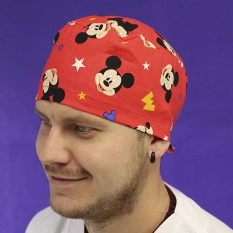 Short Hair Surgical Cap - Red Mickey