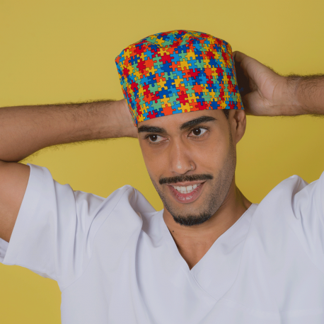 Short hair surgical Cap - Puzzle...