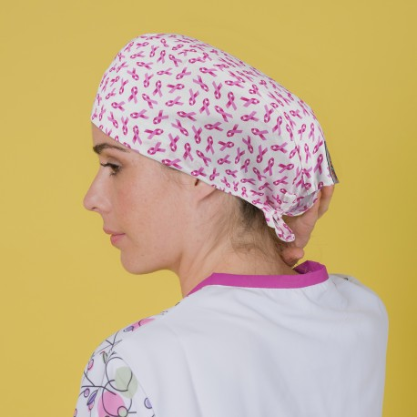 Short Hair Surgical Cap - Pink bow -...