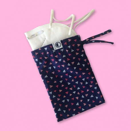 Hearts over navy blue Fabric  All...