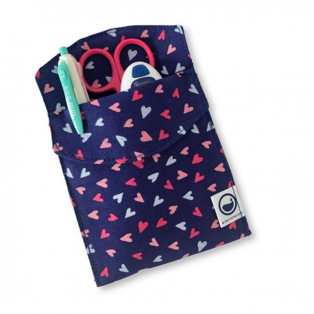 Navy blue Hearts Pocket Cover