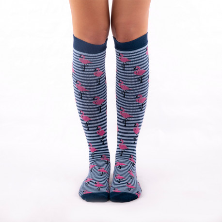 Compresive Printed Socks - Flamingo
